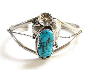 Southwestern Navajo Style Turquoise Sterling Silver Cuff Bracelet Signed B
