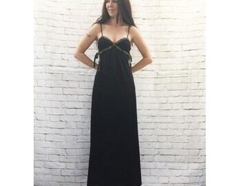 Vintage 70s Black Maxi Sun Dress Floral Trim Bandeau Top Side Ties XS