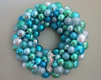 "SUMMER BEACH Wreath -18"" AQUA Seafoam Shatterproof Ornament Wreath with Seahorse"