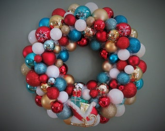 "18"" Christmas Wreath TURQUOISE  RED Gold and White CHRISTMAS Ornament Wreath with Sleigh of presents"
