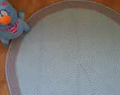 Nursery rug, round rug, floor rug, floor mat, kid's room rug, crochet rug, doily rug, kids rugs, light blue, grey rug