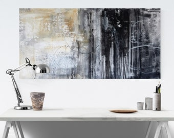 "black and white  Painting  48"" Acrylic Painting large abstract painting   from Jolina Anthony"