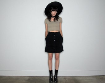 Black Denim Skirt Button Front VINTAGE High Waist Rework Womens Size 24 Waist