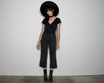 Faded BLACK DENIM Straight Leg Fray Hem Jeans 90s Vintage Size 28 Waist