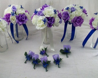 RoYaL BLue, Lilac Lavendar Ivory Roses Silk Wedding Flower Package 11 piece Brides on a Budget WeDDiNG BouQuets and Boutonnieres