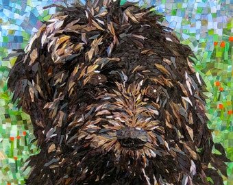 Stained Glass Mosaic Dog Portrait Goldendoodle Poodle Labradoodle Any Breed Dog, Cat other Animal - Custom Order c