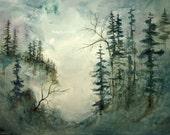Original Watercolor Landscape Painting, 14x20