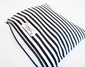 Medium Zippered Wet Bag Pouch / Nappy Wallet / Diaper Case  - Black and White Stripe
