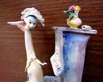 SALE*****Lo Scricciolo Figurine A Colombo Figurine Italy Lo Scricciolo Angel Playing Piano Figurine Italian