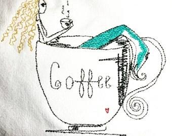 Blonde Mermaid In Coffee Cup Dish Towel  Flour Sack Dish Cloth