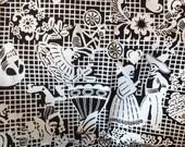 """Day of the dead canvas fabric, dia de los muertos printed canvas 150cmx150cm, 60""""x60"""". Reasy to ship."""