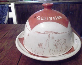 vintage Portuguese cheese dish, very large , handmade ceramic, folk naive art