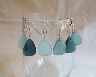Blue Earrings on Silver Ear Wires