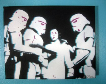 NEW Storm Troopers Leia from Star Wars Hand-Cut Stencil Painting by Jessica Pope
