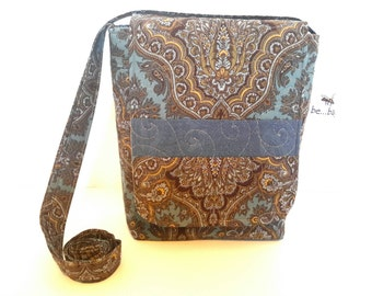 Quilted Cotton Cross Body Bag in Paisley Print Quilted Handbag