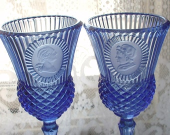 Vintage 1970's Fostoria Glass Water Goblets pair, Cobalt blue glass goblets, George and Marth Washington, retro Gift for history teacher
