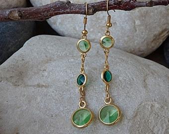 Gold Green Dangle Earrings, Peridot Swarovski Earrings, Drop & Dangle Green Swarovski Earrings, Long Gold Filled Earrings, Gemstone Earrings