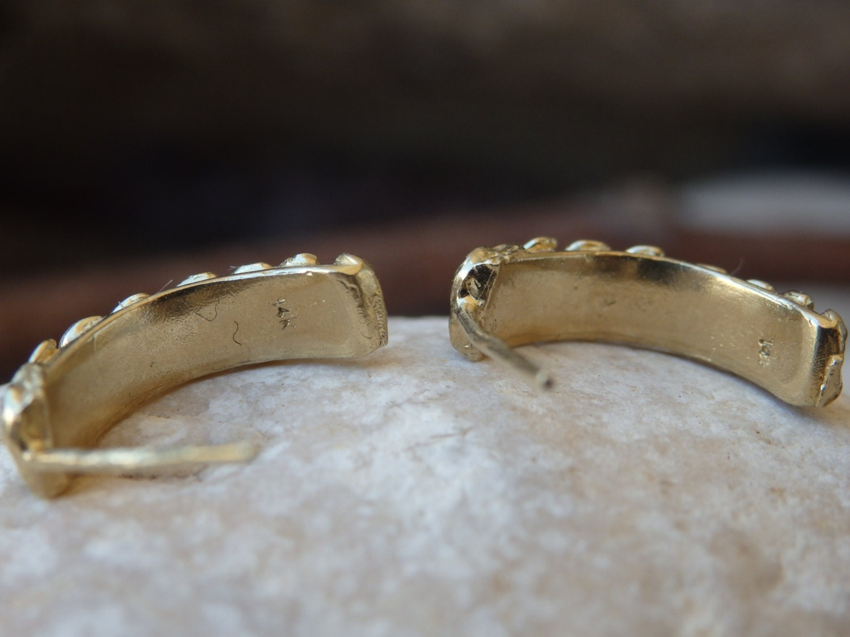 Gold Hoop Earrings, Hoop Stud Earrings, Half Hoop Earrings, 14K ...