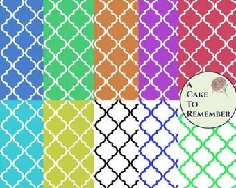Digital download--15 colors of printable quatrefoil wafer paper file for cake decorating or cupcake decorating