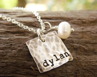 Distressed Sterling Silver Hand Stamped Mom Necklace with Kids Name, Choose How Many Tags, Grandmother Necklace