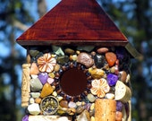 Spring Outdoor hanging mosaic Stone Birdhouse with Wine Corks and colorful stones wine lover natural rustic garden music lover art birds