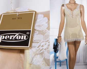 NWT unworn - enticing soft and sheer pretty pale lemon Perlon and luxurious white lace detail 1960's vintage mini slip petticoat - 3772