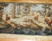 Antique old large wall hanging Tapestry Landscape a deer elk moose forest hunt
