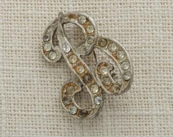 "Letter B Brooch Vintage Silver Rhienstone Monogram ""B"" Broach Costume Jewelry | Vtg Pin 16B"