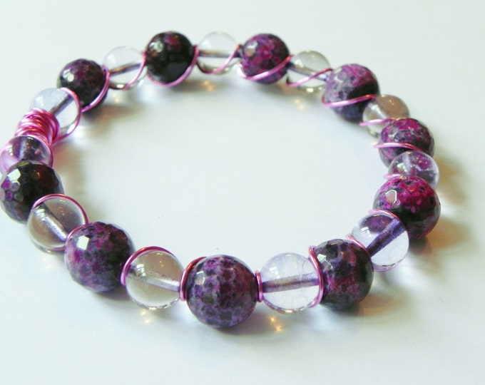 Purple agate and quartz wire wrapped gemstone bangle