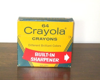 Collectible 1960s Crayolas / Retired Crayon Colors / Classic Binney & Smith / Wax Crayons / Retro / Crafts / Big Yellow Box/UNOPENED