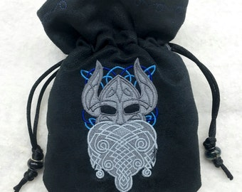 KNOTWORK VIKING - Embroidered Drawstring Dice Bag, Rune Pouch, Tarot Card Bag made of faux suede - LARP Costume Accessory