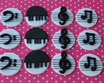 12 fondant cupcake toppers--piano, musical notes