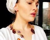 bohemian elegant glam leaves leaf necklace - Golden flight - fabric lightweight textile, mixed media