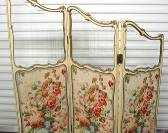 SALE Vtg French SCREEN Ornate Handpainted Gold Gilt Floral Bevel Glass 3 Panel Cottage Chic Home Decor