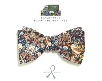 Bow tie, mens, liberty fabric, self tie, necktie men, freestyle, the strawberry thief by William Morris, handmade by Bagzetoile, France