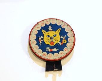 Vintage Tin Litho - Cat Litho - Vintage Cat - Farm Bingo Wheel