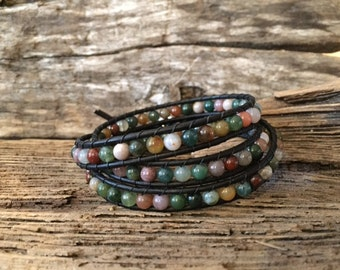 3 wrap Leather Bracelet made with Natural Indian Agate semi precious stones.
