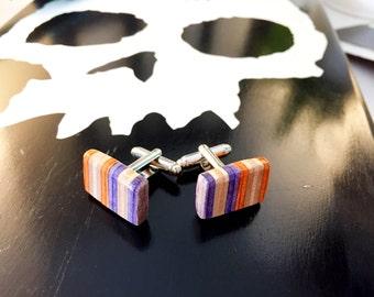 Recycled Skateboard Wood Cufflinks Orange, Maple and Purple