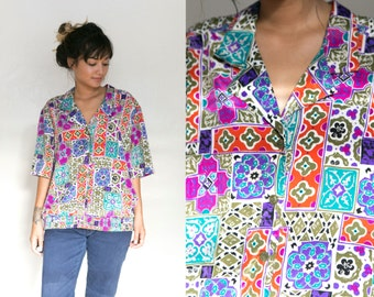 80s Tribal Shirt / Ethnic Blouse / Abstract Printed Button Up Collared Shirt Geometric Oxford Short Sleeve Unisex Retro Boho Hippie Grunge