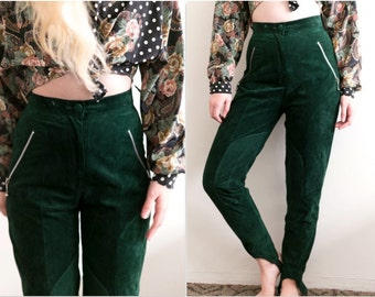 Green Leather Suede High Waisted Pants / Genuine Leather Trousers High Waists
