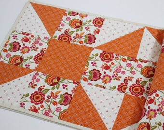 Modern Quilted Table Runner, Orange Table Topper, Table Decor