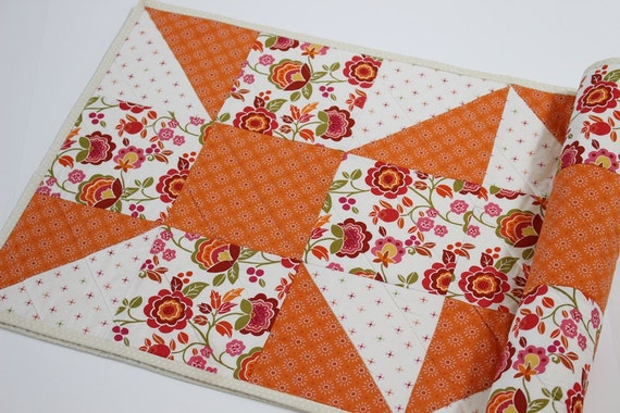 Orange Floral Quilted Table Runner