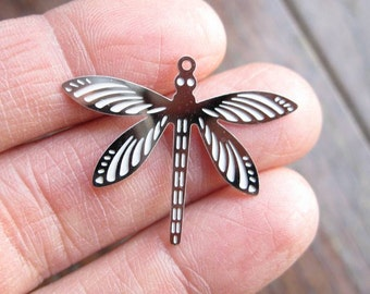 8 Stainless Steel Dragonfly Charms in Silver Tone - C2342