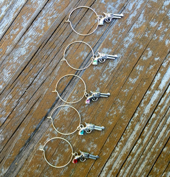 Gun pistol wine glass charms for the wine & gun lover in your life....