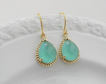 Aqua  Earrings - Mint Dangle Earrings - Gold Bridesmaid Earrings - Bridesmaid Gift - Wedding Earrings - Gift For Her - Mothers Day Gift