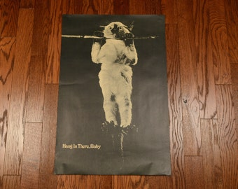 vintage 70s Hang In There, Baby cat poster 1970 wall hanging home decor classic rare cat poster