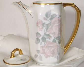 Bavarian Teapot Vintage Heinrich & Co. White Porcelain Graceful Full Curved Gold  Handle Pink Roses Gold Trim Seperate Lid