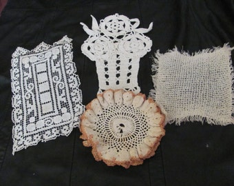 "Lot of 4 Assorted Handmade Vintage Crocheted Doilies 6"" to 11"" -  #21A"