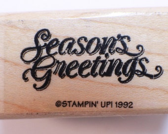 Season's Greetings Stampin Up 1992 Wooden Rubber Stamp
