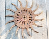 Vintage Rotary Hoe Wheel Tines Red Rusty Cast Iron Farm Equipment Steam Punk Assemblage Sun Flower Wall Art Decoration